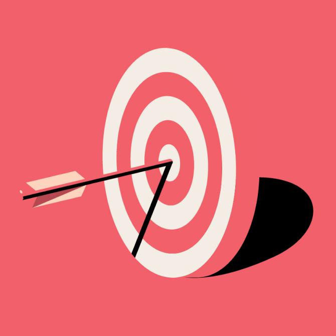 Objetivo con una flecha clavada en el centro