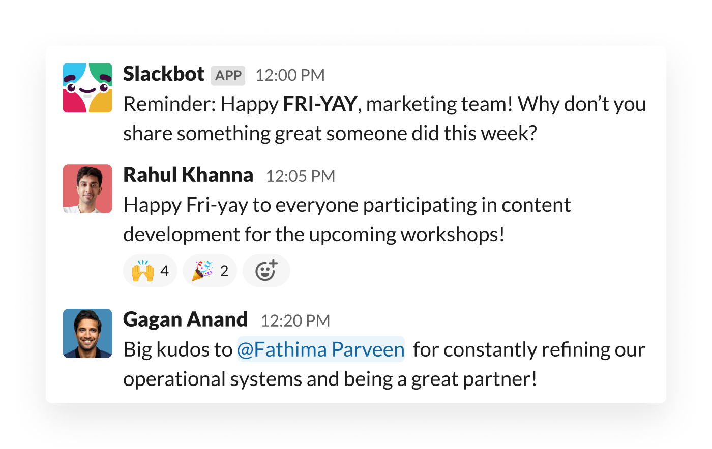 An automated message from Slack prompts teammates to recognise one another's work