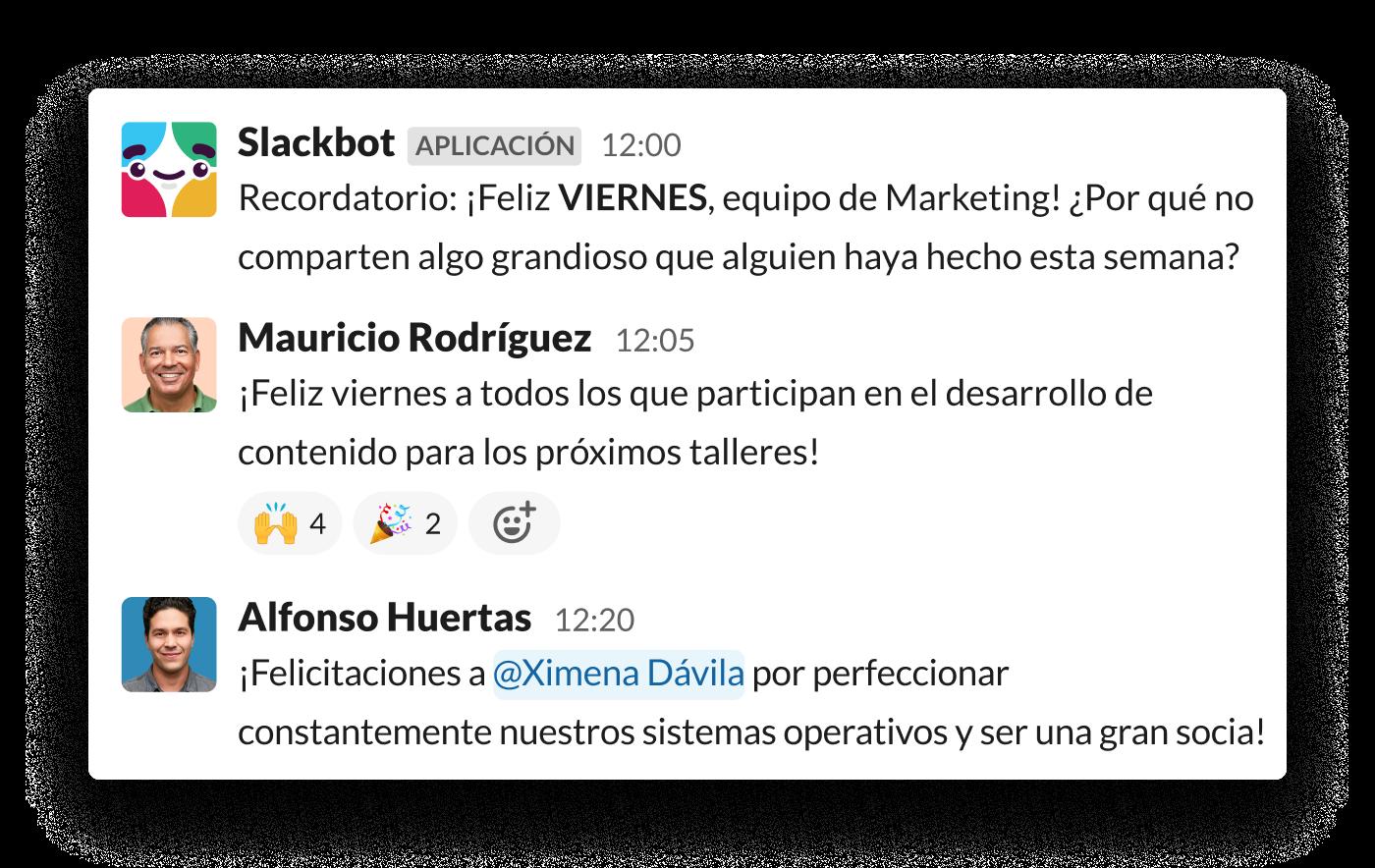 Un mensaje automático de Slack solicita a los compañeros de equipo que reconozcan el trabajo de los demás
