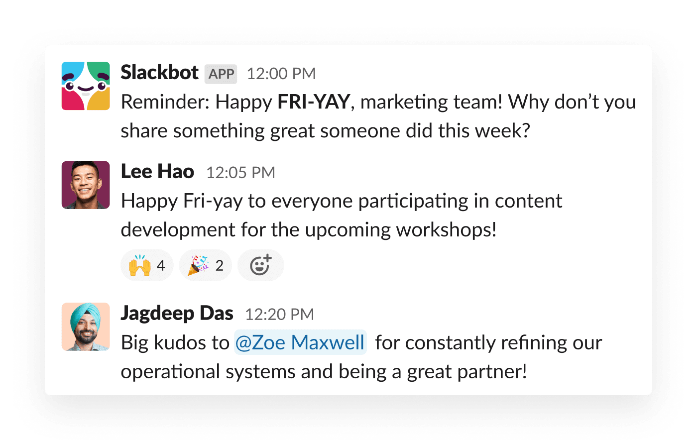An automated message from Slack prompts teammates to recognize one another's work