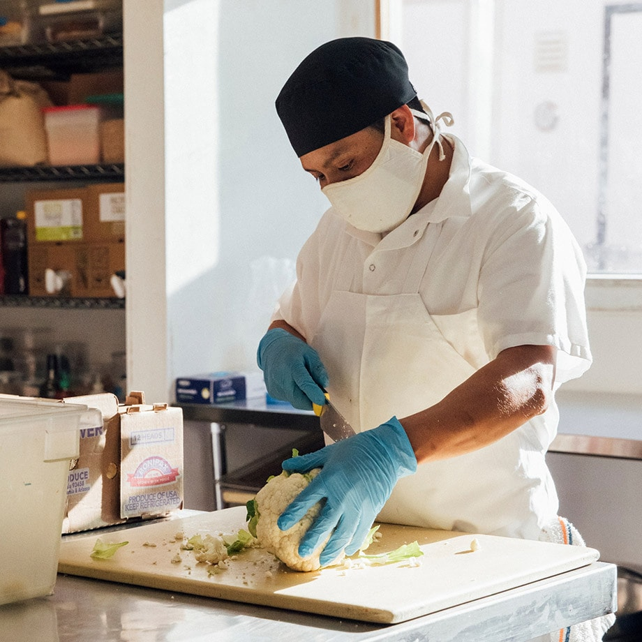 Chef creating meals for those in need during the pandemic