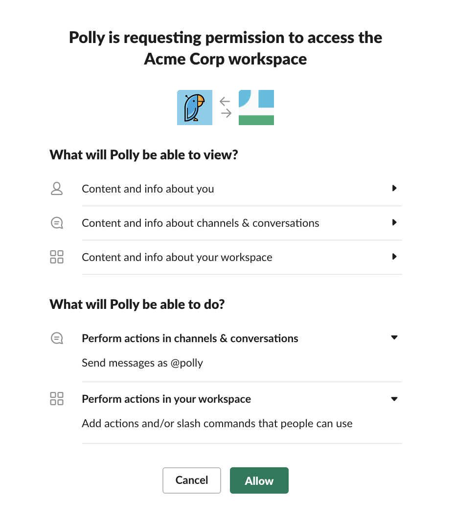 Granular permissions show what an app can see and do in your workspace.