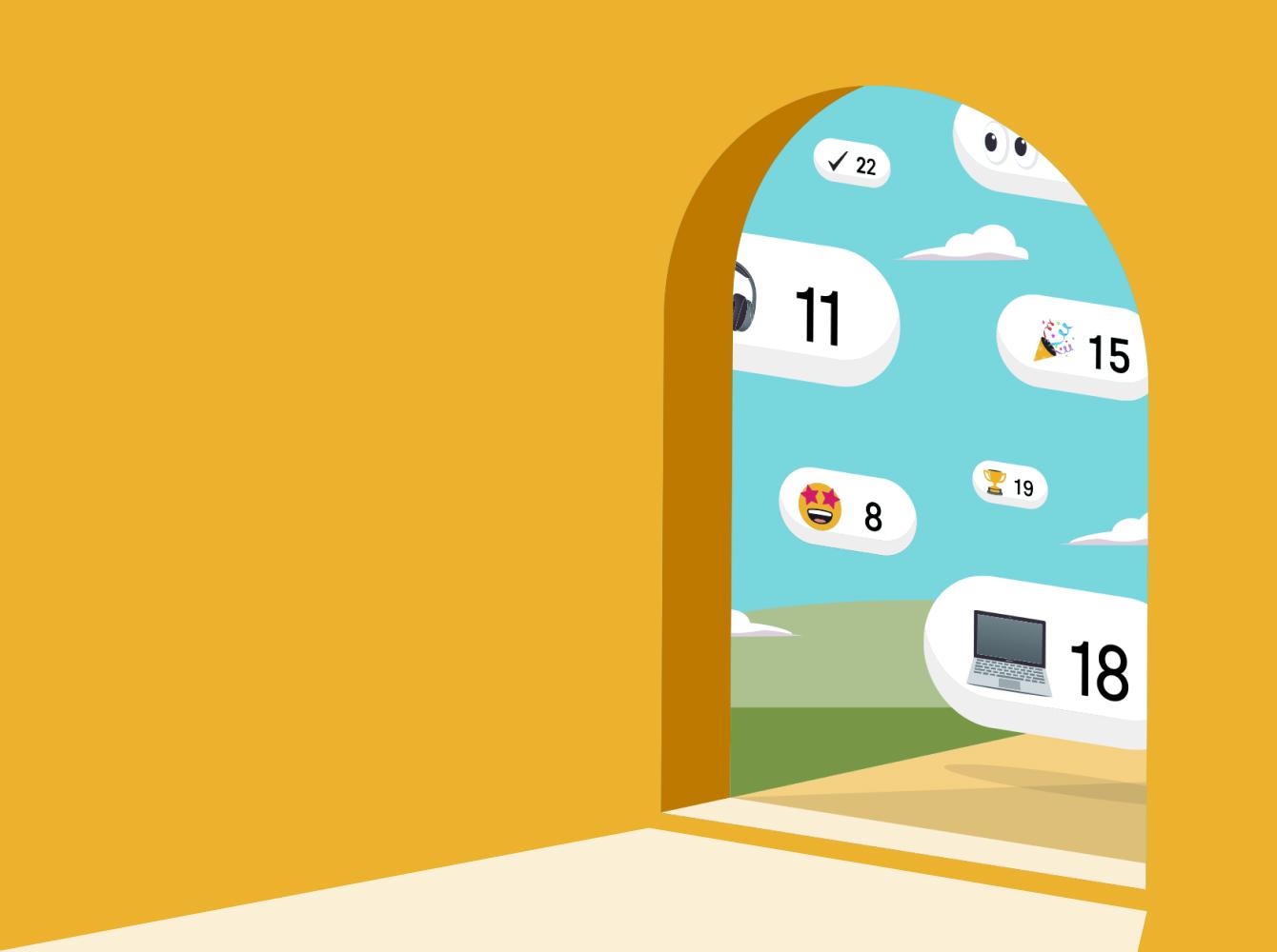 Door opening with clouds peaking through with Slack emojis
