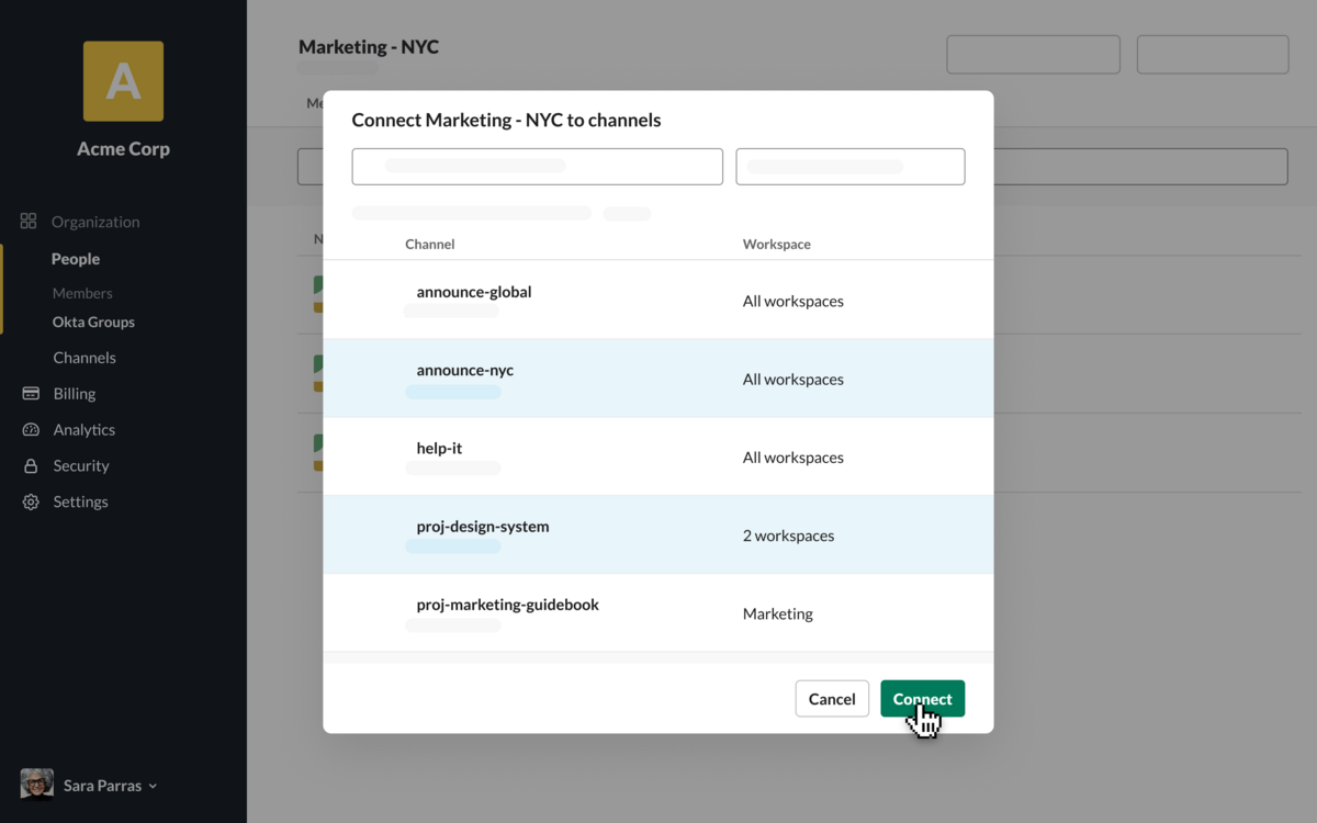 Slack UI showing a menu to connect marketing-NYC to channels