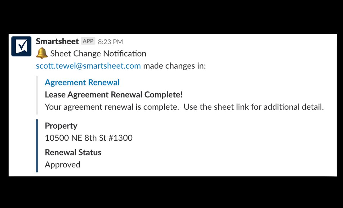 Smartsheet notification