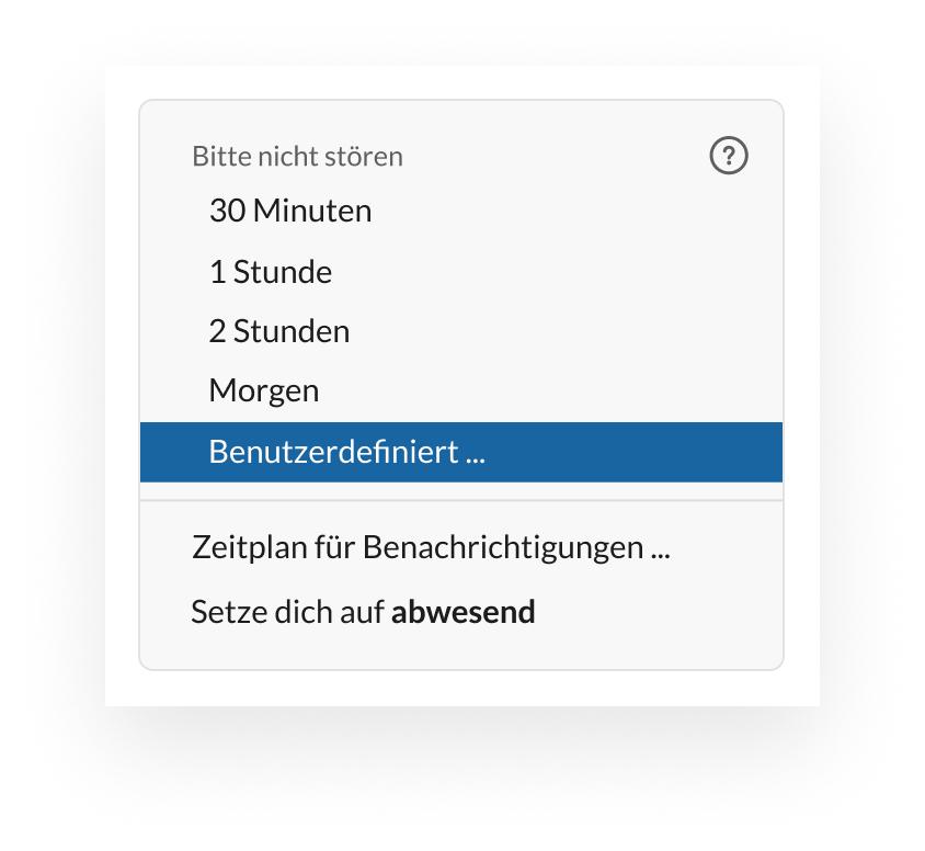 Beispiel für das Festlegen einer benutzerdefinierten Statusmeldung in Slack