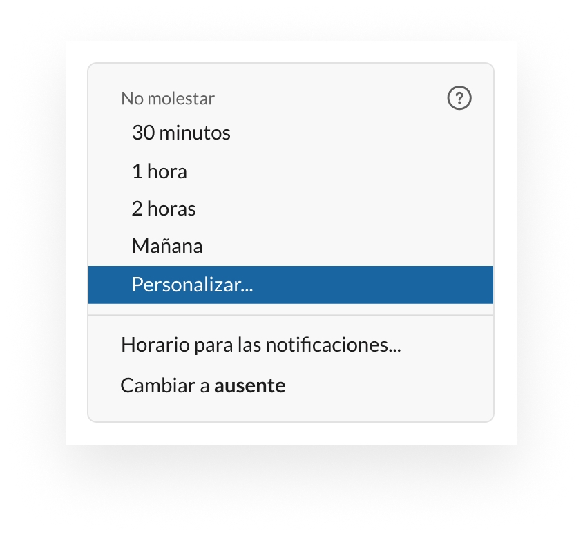 Ejemplo de cómo personalizar un estado en Slack