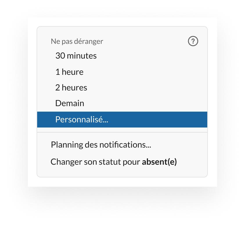 Exemple de configuration d'un statut personnalisé dans Slack