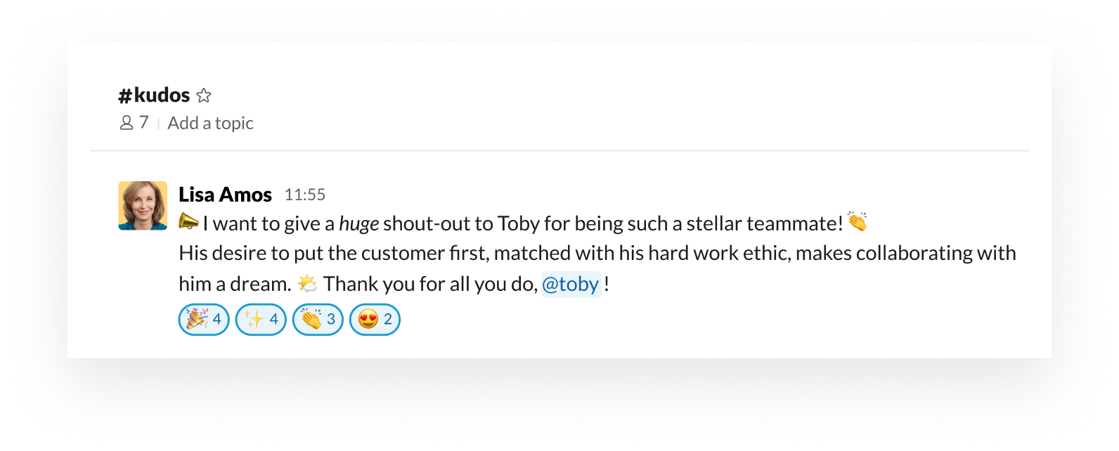 Example of how to support and celebrate your team within Slack with emoji