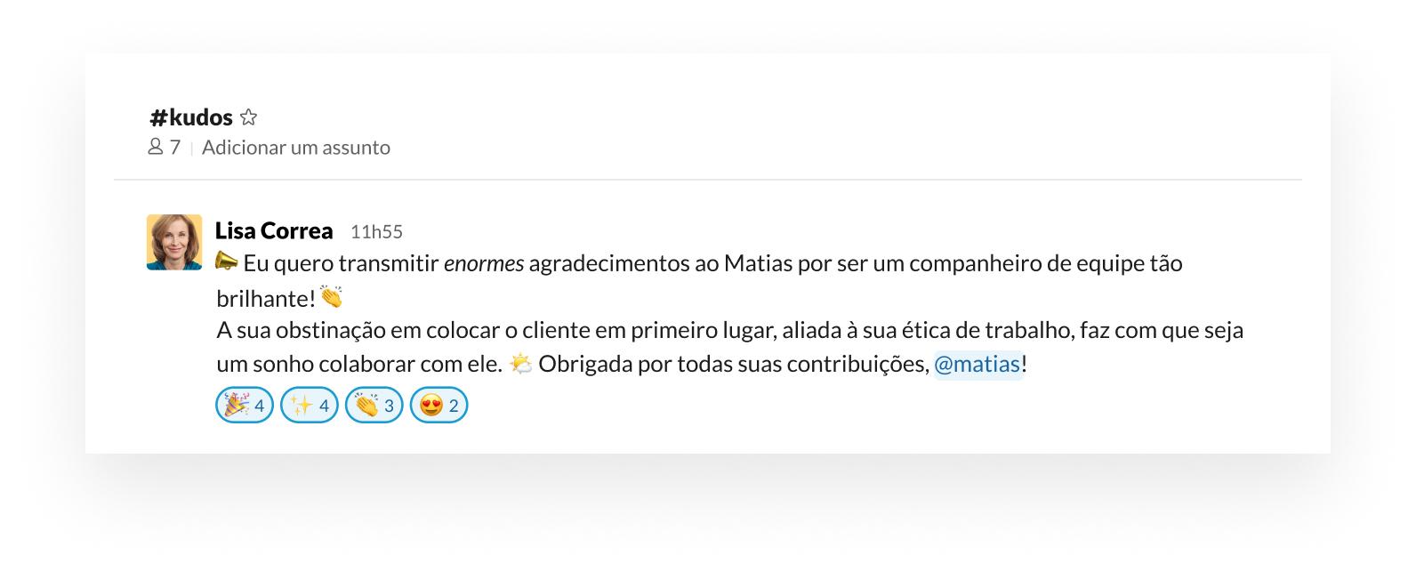 Exemplo de como apoiar e comemorar as conquistas da sua equipe com emojis do Slack