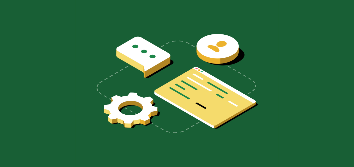 Software-Code und Zahnrad, die für ein Operations-Team stehen