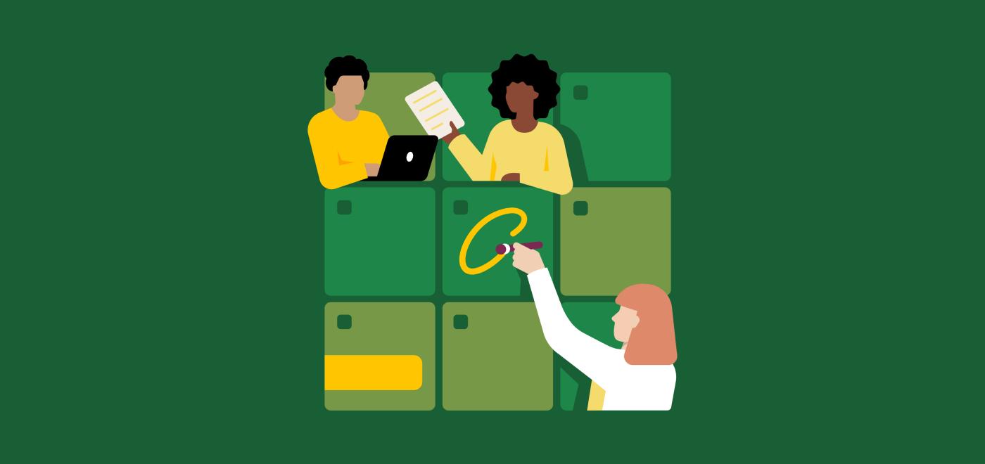 Arbeitende Personen, die Code-Planungssitzungen darstellen