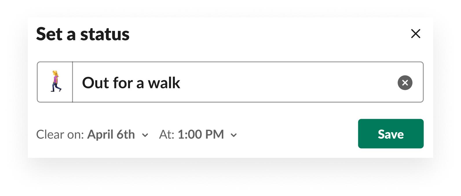 Ejemplo de cómo establecer tu estado en Slack
