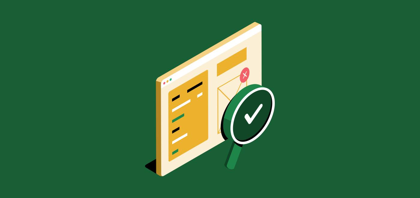 コードテストを象徴するチェックマークとコンピューター画面