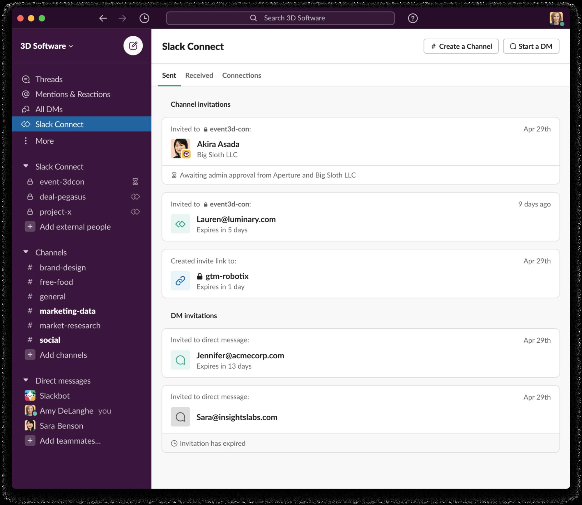 Screenshot dell'hub di Slack Connect
