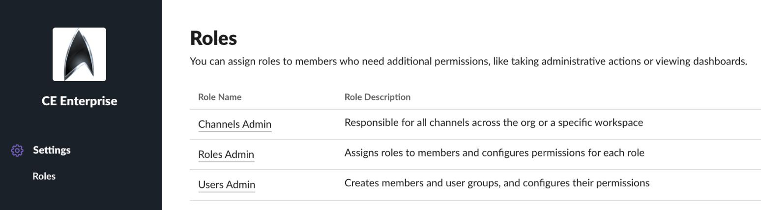 Roles screenshot