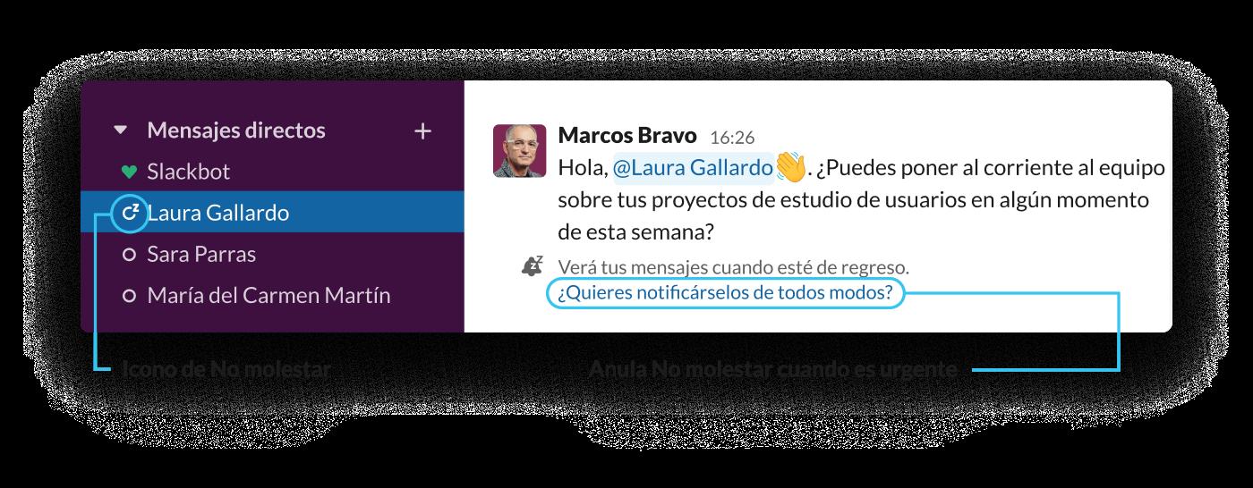 Cuando un usuario de Slack envía un mensaje a un compañero que está en modo No molestar, se le avisa de que el destinatario está ausente y que verá el mensaje cuando esté de vuelta.