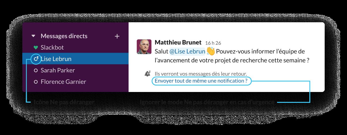 Lorsqu'un utilisateurSlack envoie un message à un collaborateur ayant activé le mode Ne pas déranger, il est informé que le/la destinataire est absent(e) et que le message sera lu à son retour