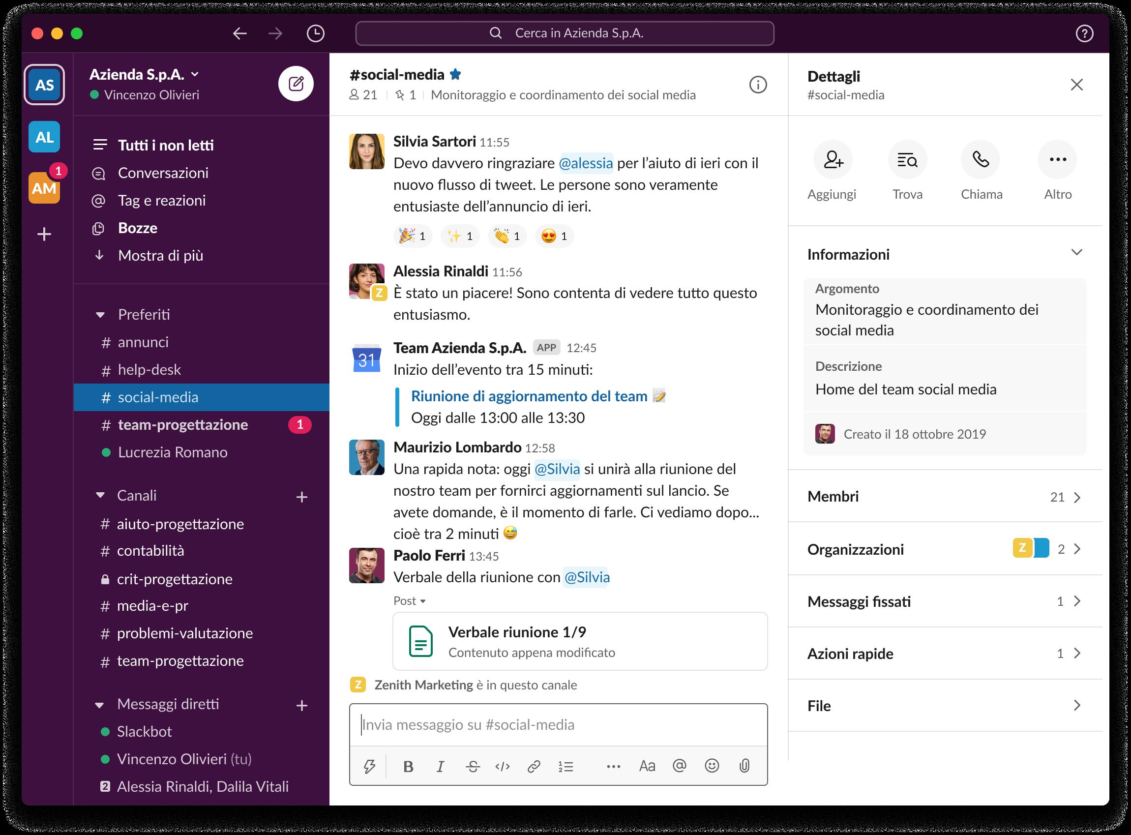 Slack desktop app shown in Italian