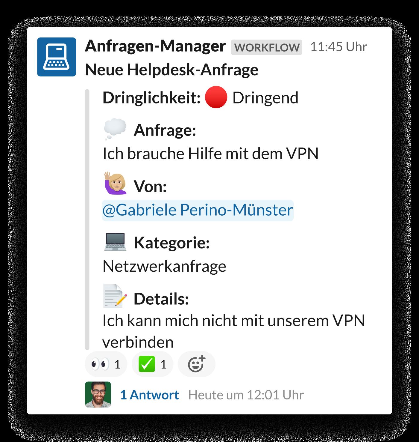 Anfrage zum VPN-Zugriff im Slack-Channel #hilfe-IT