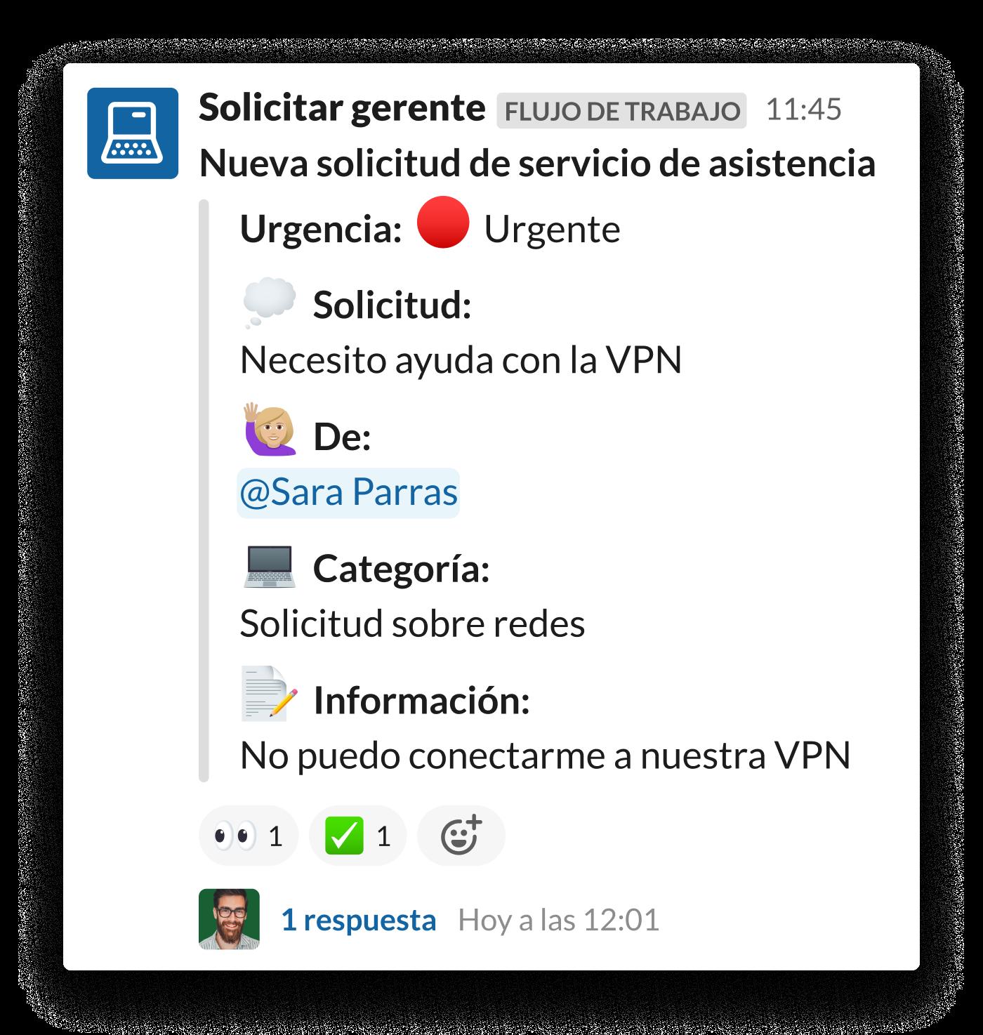 Una solicitud de acceso a la VPN efectuada en un canal #ayuda-TI de Slack.