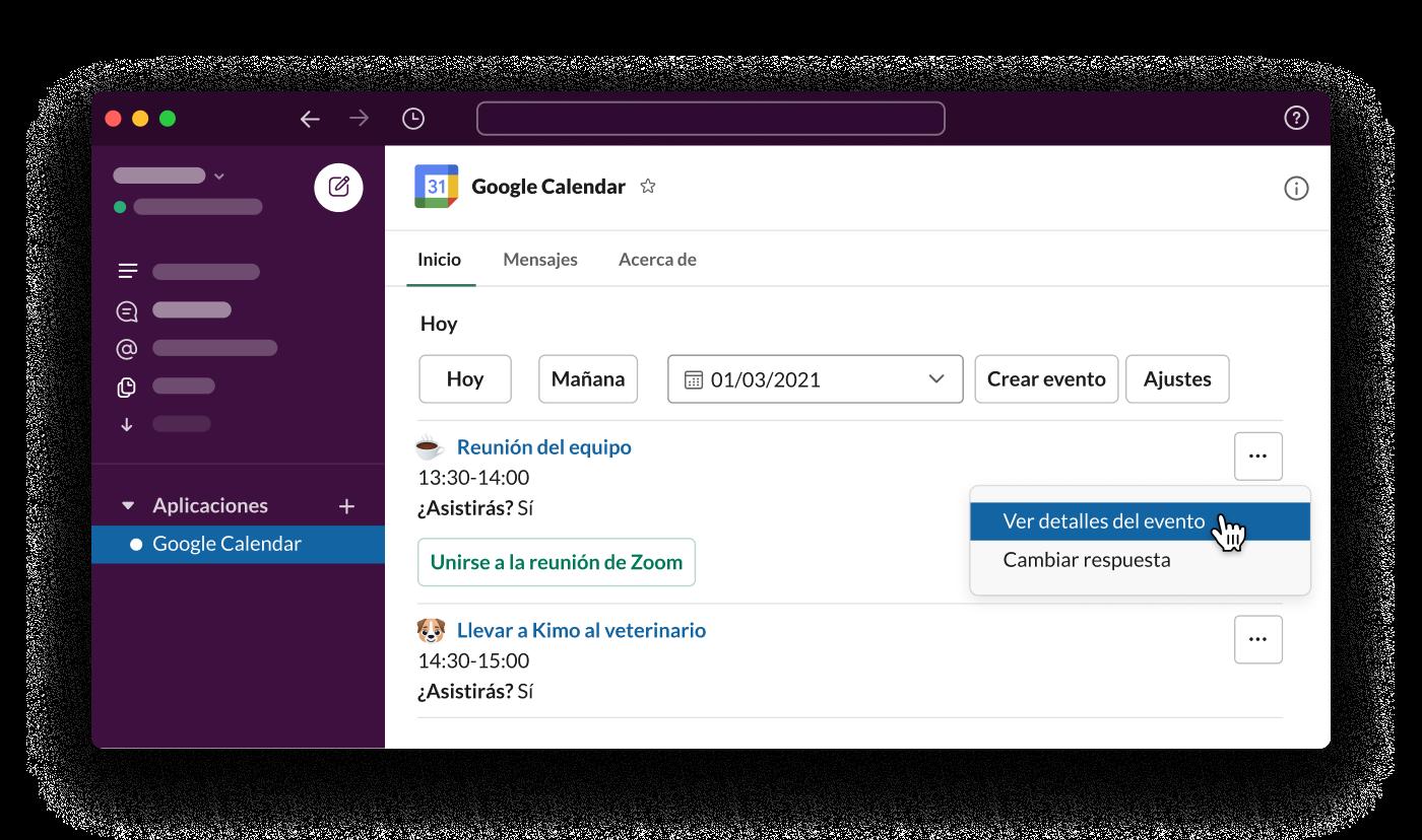 La aplicación Google Calendar para Slack presenta un horario diario del trabajador