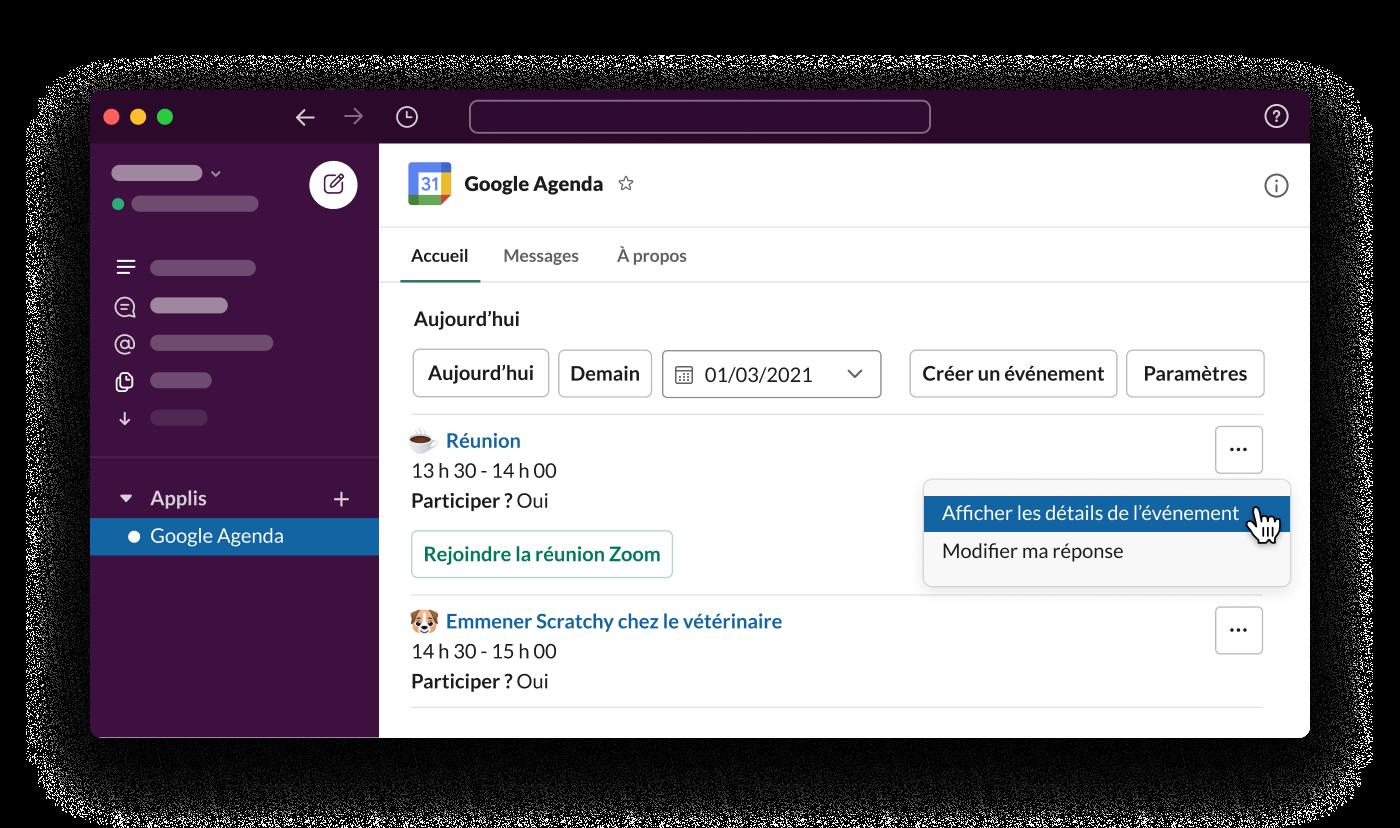 L'application GoogleAgenda pour Slack affiche les horaires de travail d'un salarié