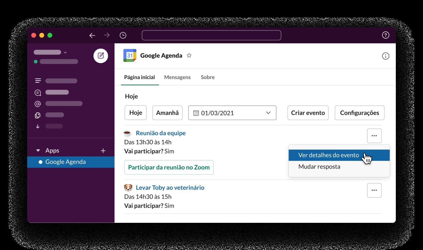 O app Google Agenda para Slack mostra a programação diária de um funcionário