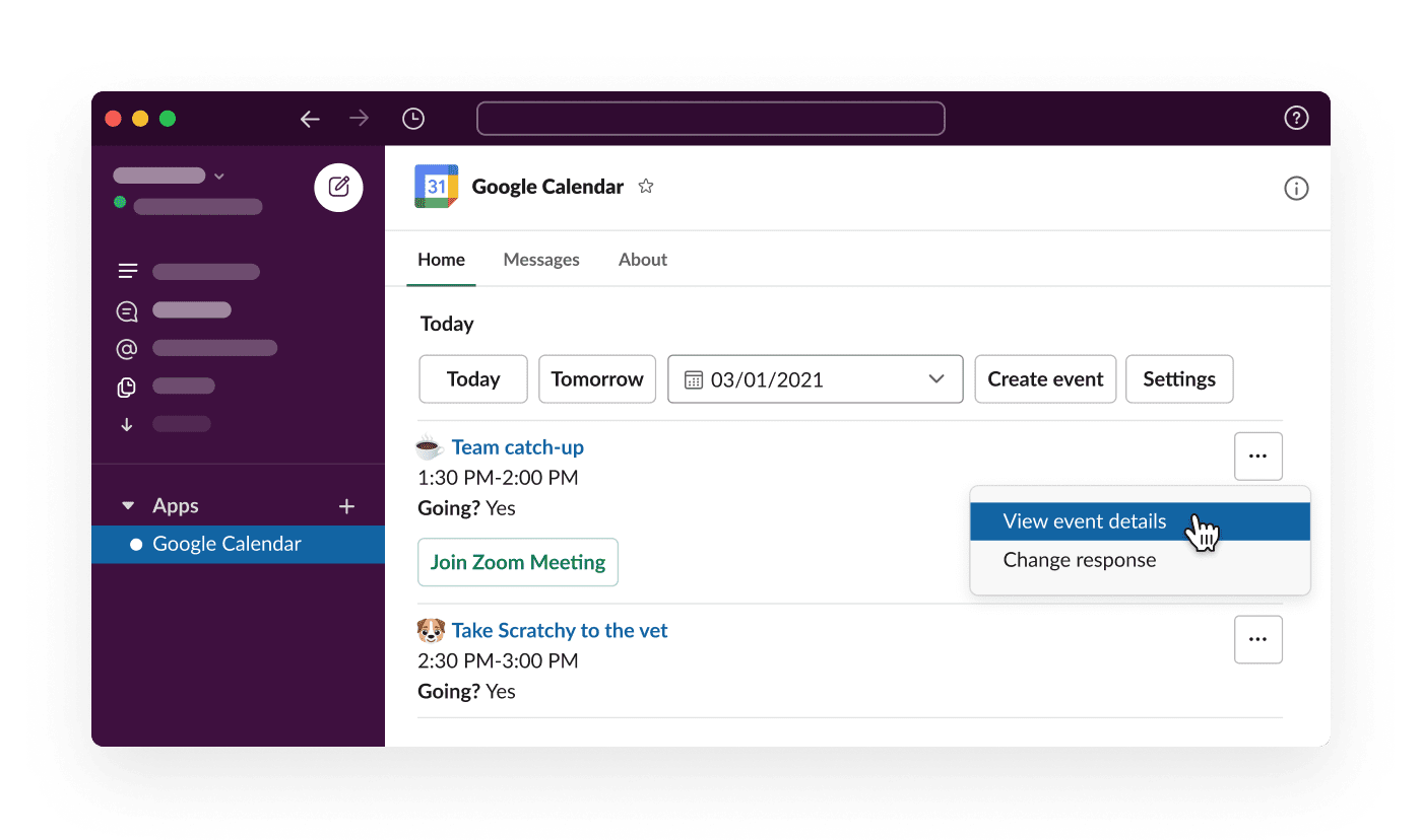 The Google Calendar app for Slack shows an employee's daily schedule