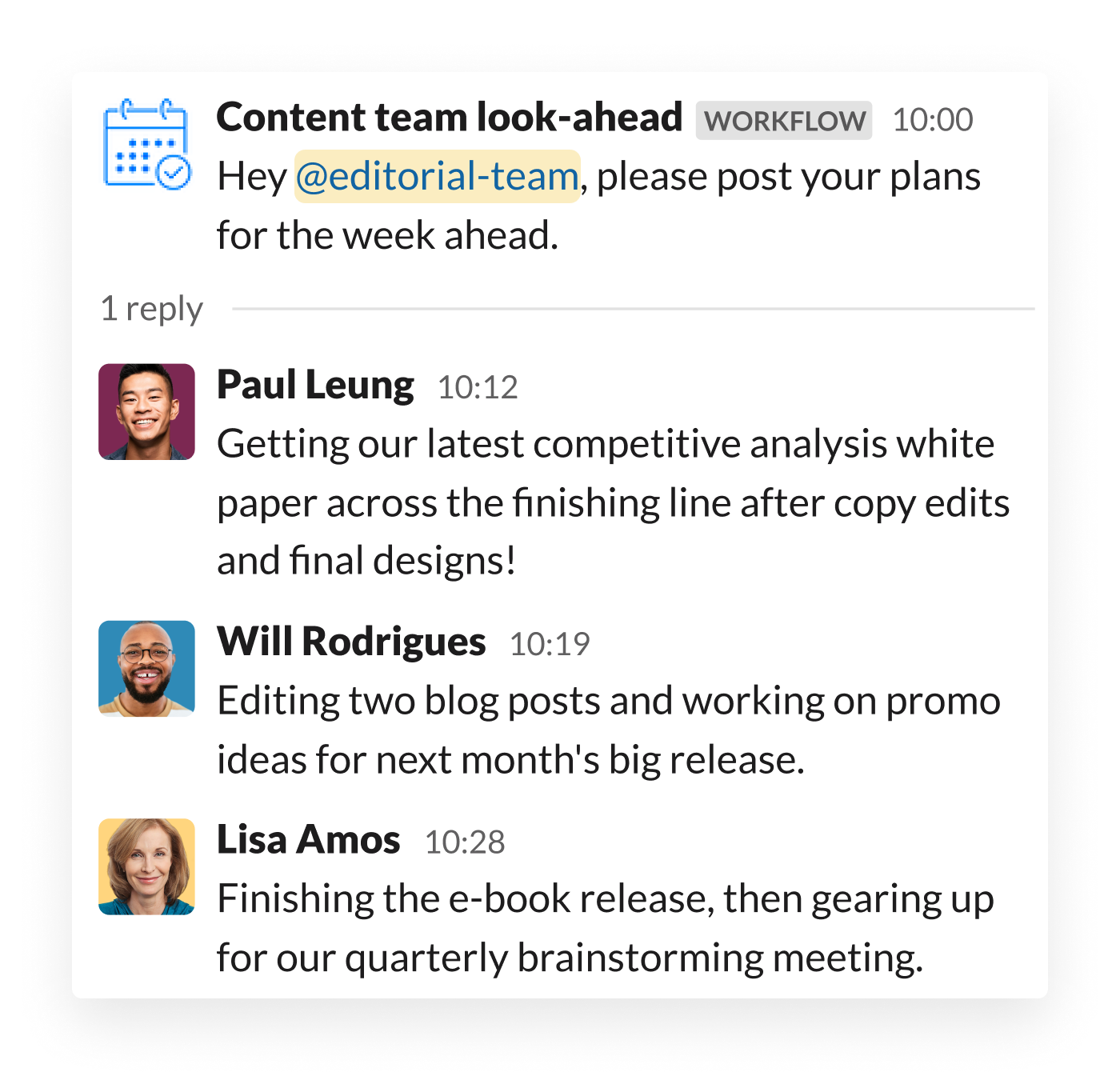 A content marketing team shares their daily goals in a thread inside Slack, following a prompt from Workflow Builder