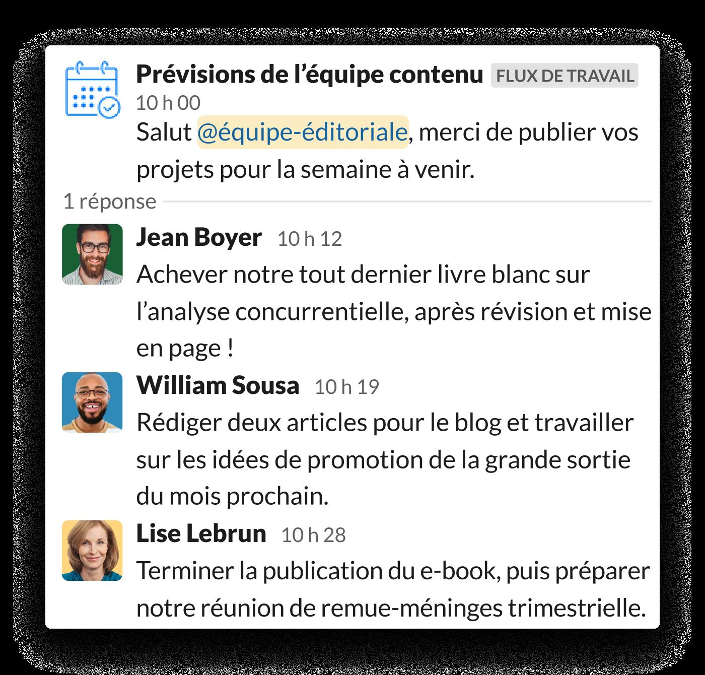 Une équipe marketing de contenu partage ses objectifs quotidiens dans un fil de discussion Slack en suivant l'invite du Générateur de flux de travail