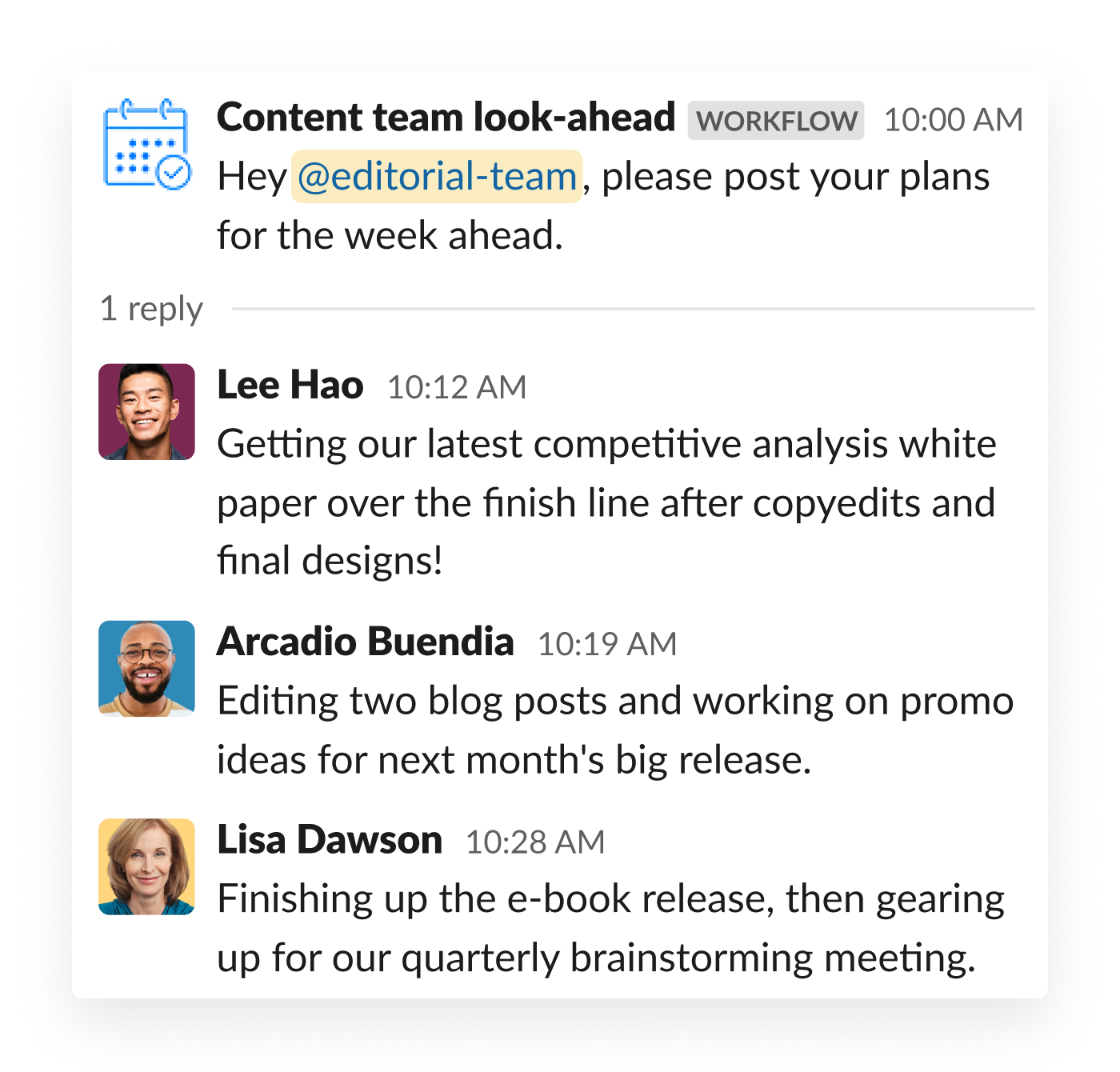 An content marketing team shares their daily goals in thread inside Slack, following a prompt from Workflow Builder
