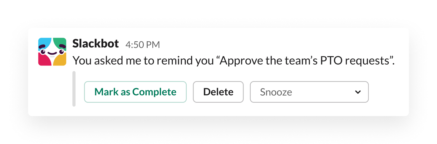 A reminder from Slackbot prompts a manager to approve her team's annual leave requests
