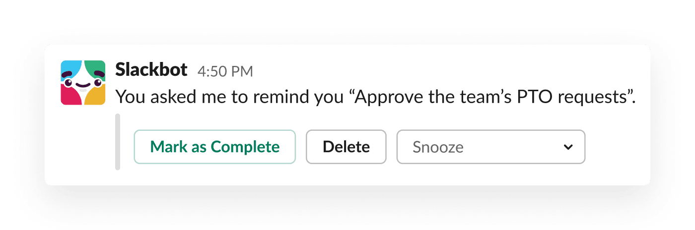 A reminder from Slackbot prompts a manager to approve her team's paid time off