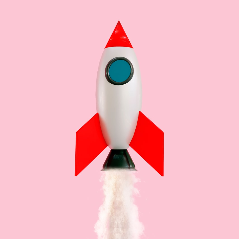 rocketship going up