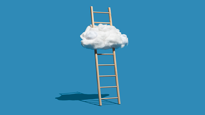 Ladder going through a cloud