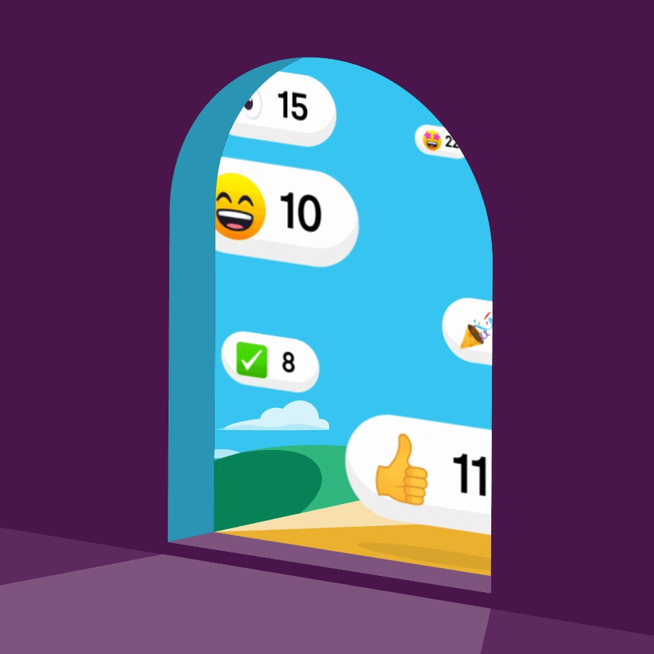 emojis through a doorway