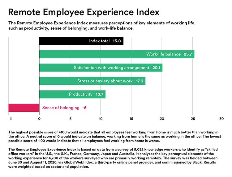 índice de experiência de funcionários remotos