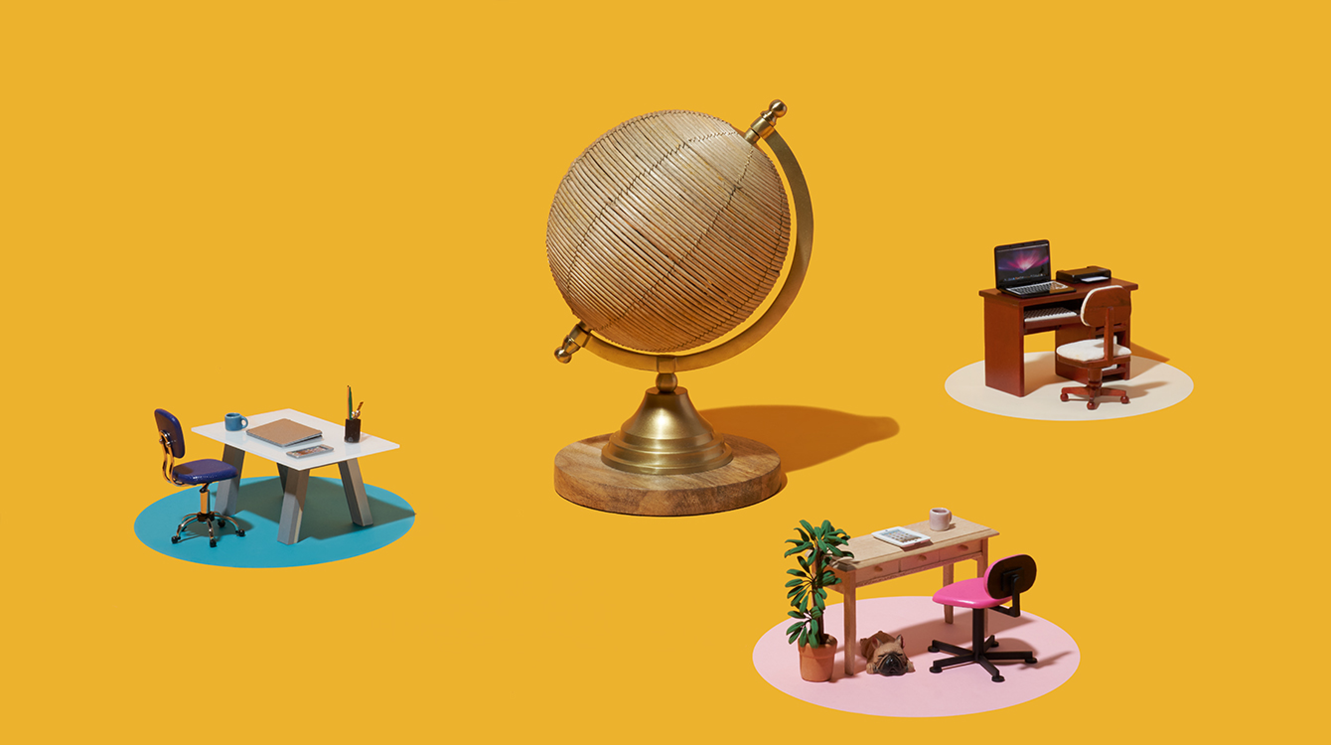 Three desks surrounding a globe representing remote work