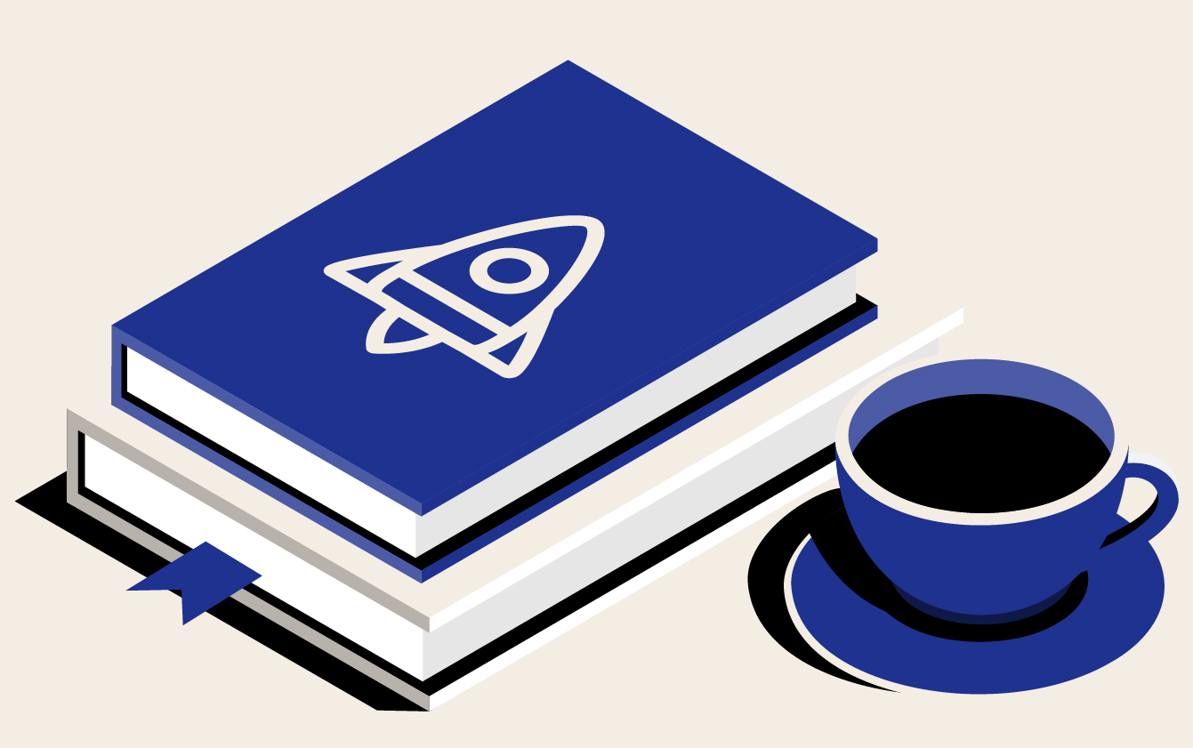 Book with space ship icon and cup of coffee on table