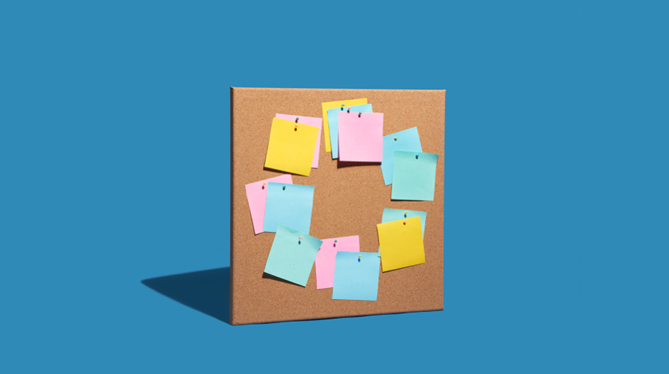 Notice board with sticky notes