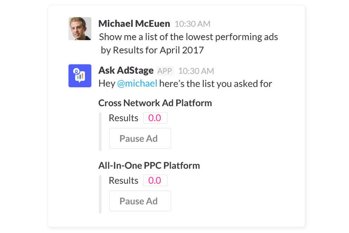 Adstage integration screenshot