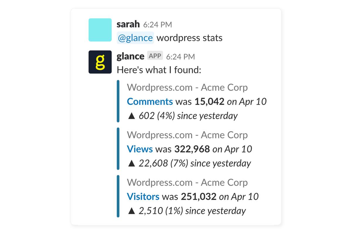 Glance integration screenshot