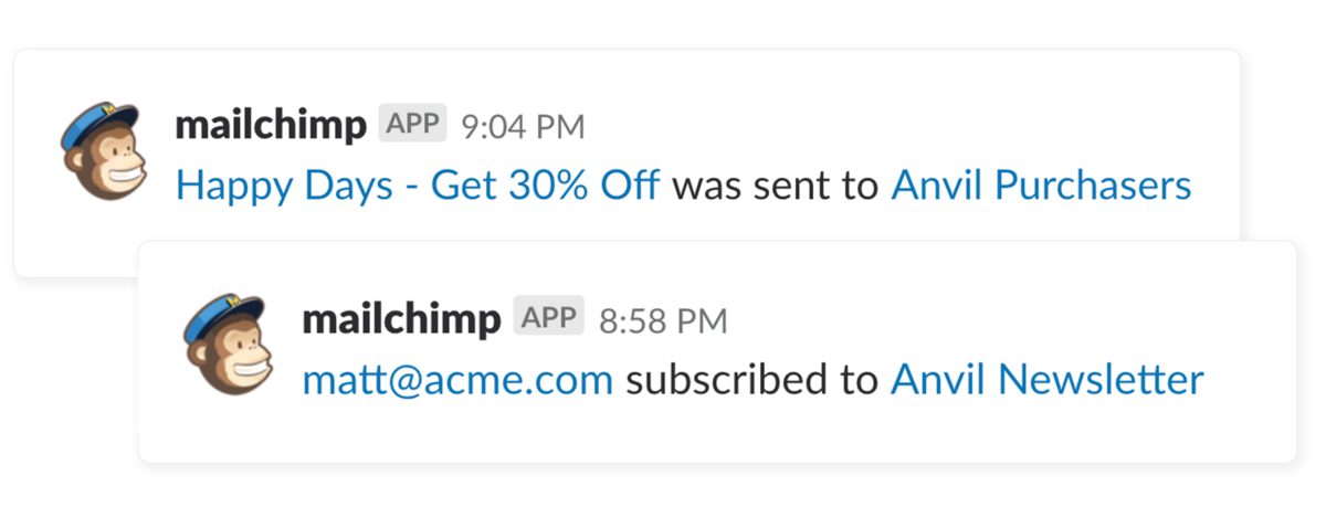 MailChimp integration screenshot