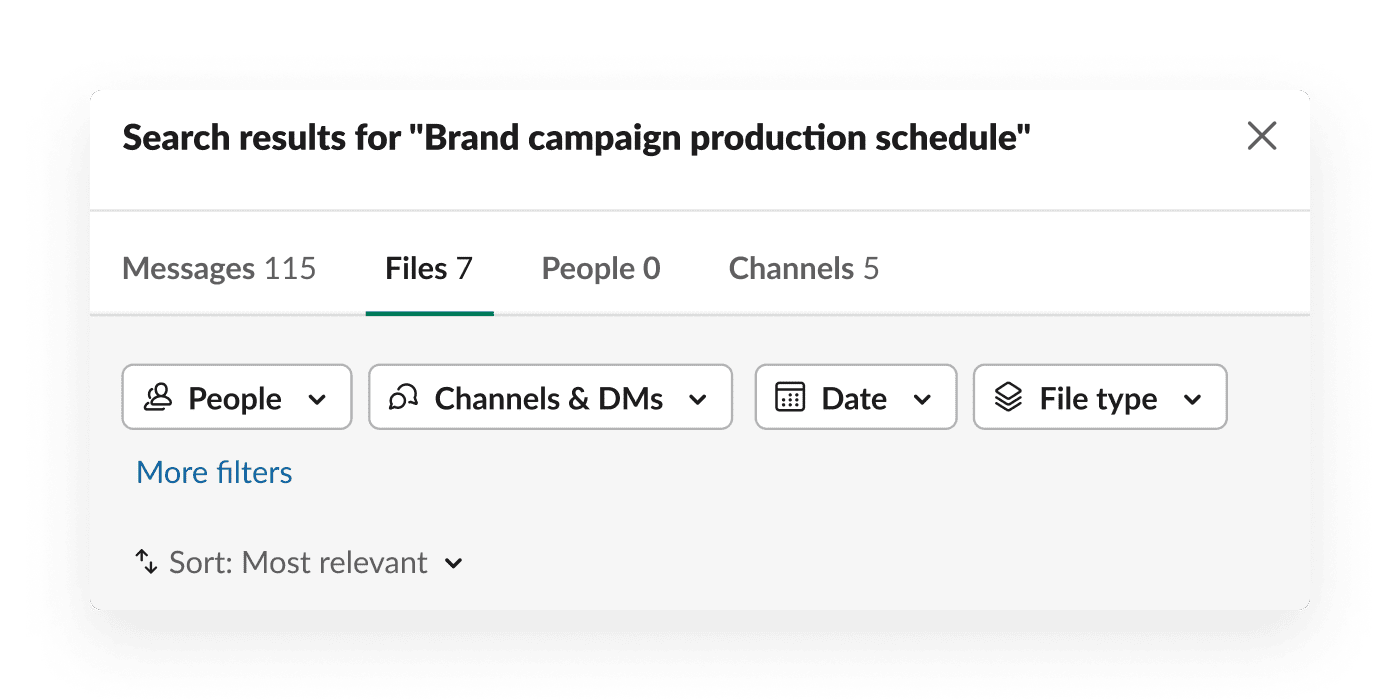 Filtered search results in Slack