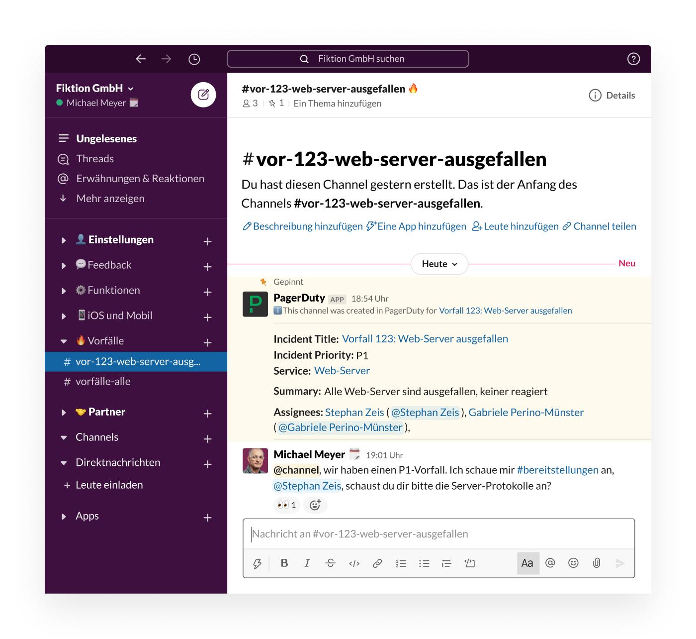 Ein PagerDuty-Hinweis in Slack