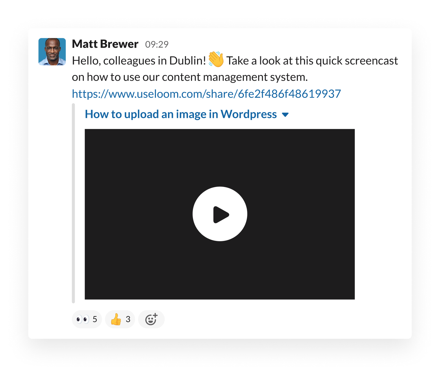 An employee shares a Loom video in Slack to demonstrate how to use the team's content management system