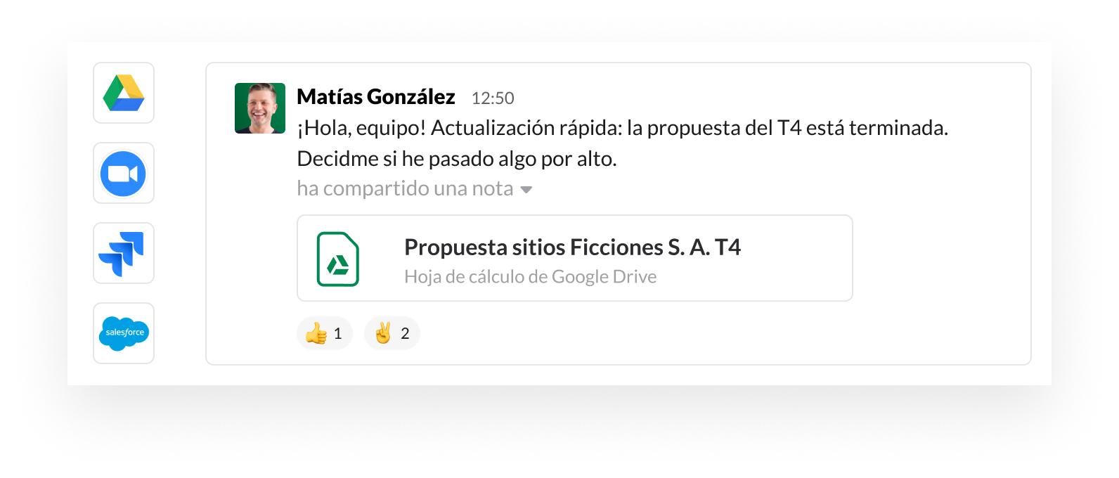 Imagen de la interfaz de usuario de Slack con iconos de socios de aplicaciones, como Google, Zoom, Jira y Salesforce