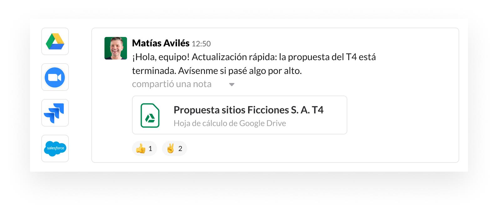 Imagen de la interfaz de usuario de Slack con iconos de socios de aplicaciones como Google, Zoom, Jira y Salesforce