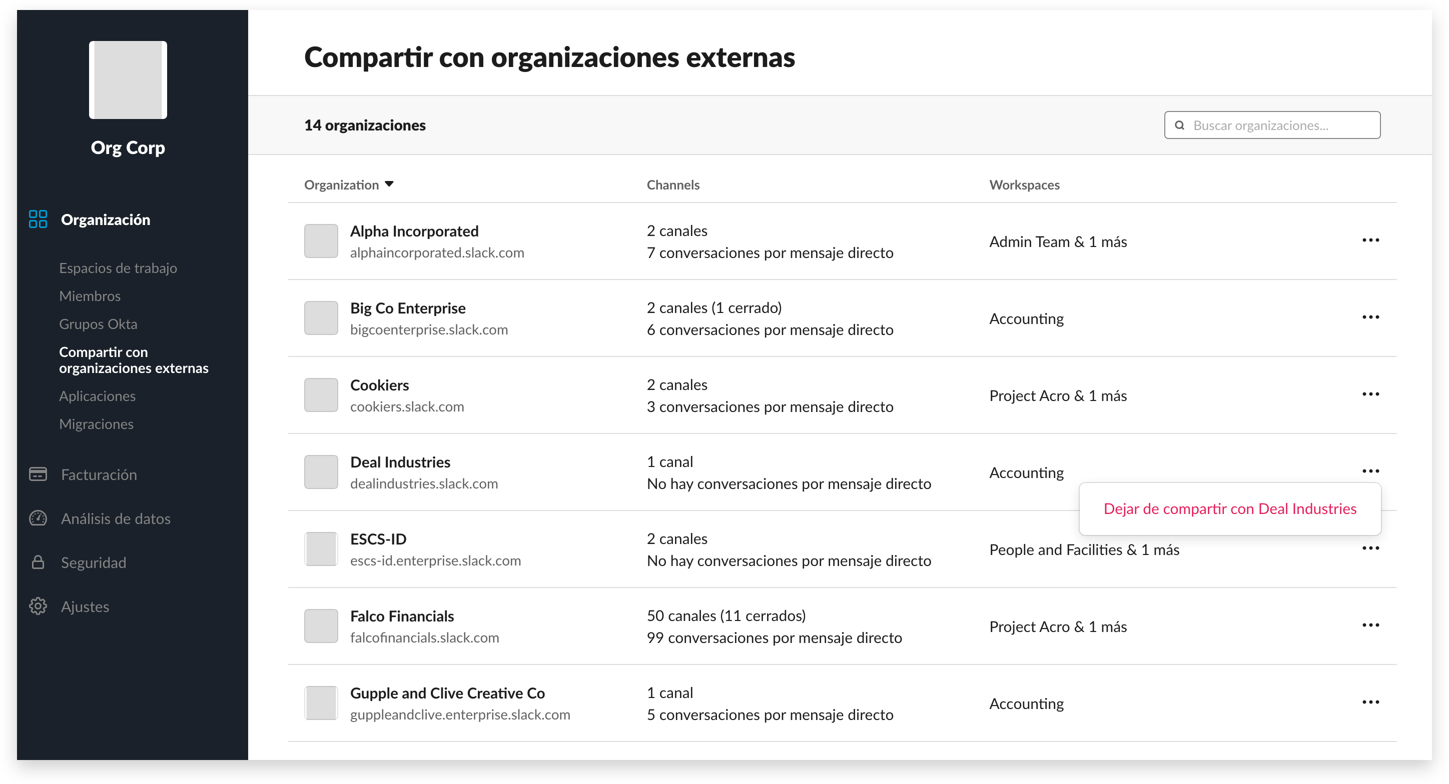 Manage shared channels in the org-level dashboard, if you're on Enterprise Grid